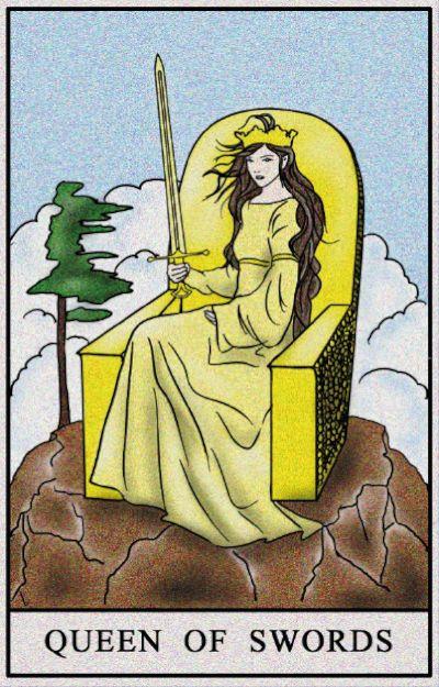 Karta Tarota - Królowa Mieczy