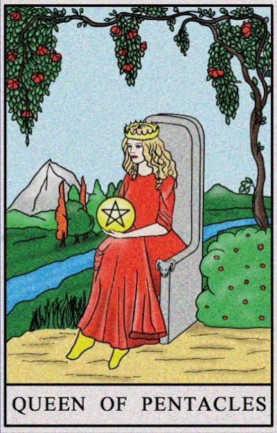 Karta Tarota - Królowa Monet