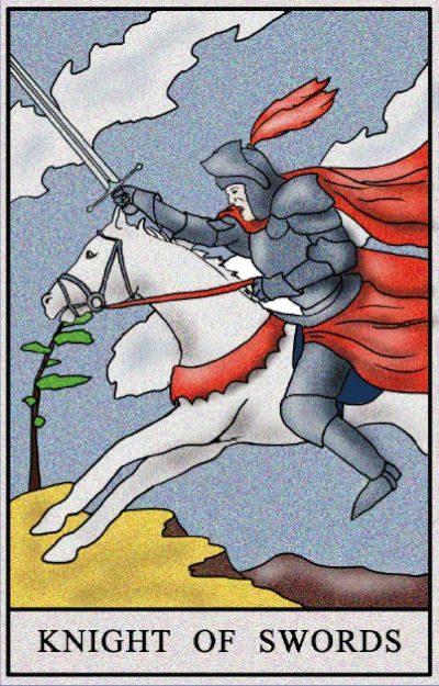 Karta Tarota - Rycerz mieczy